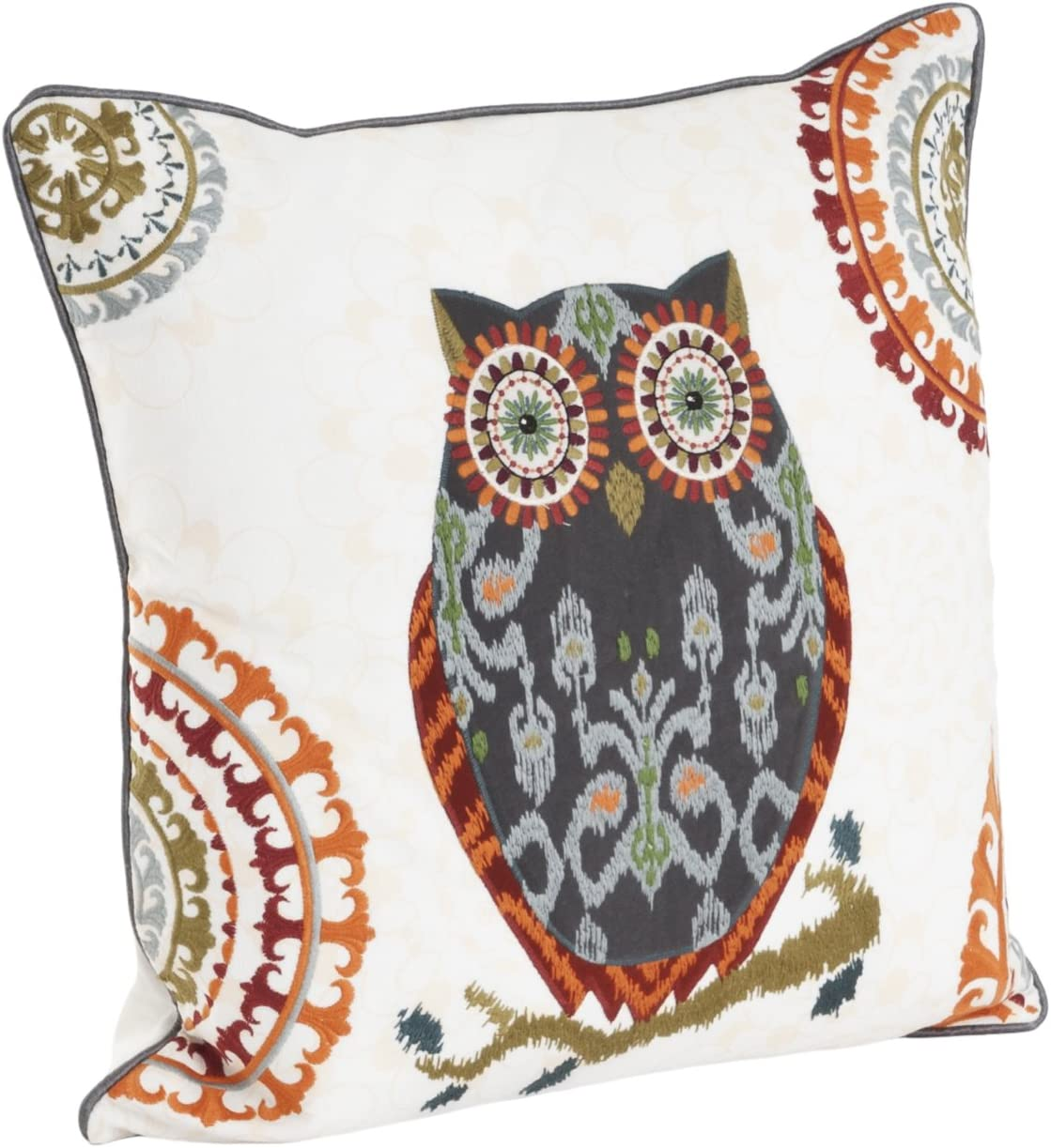 SARO LIFESTYLE 1484 Printed and Embroidered Owl Design Cotton Down Filled Throw Pillow, Grey