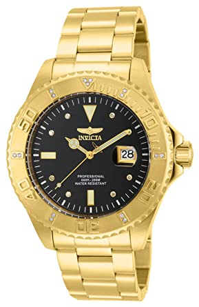 "Invicta Men's 15286""Pro Diver"" 18k Yellow Gold Ion-Plated  Stainless Steel and"