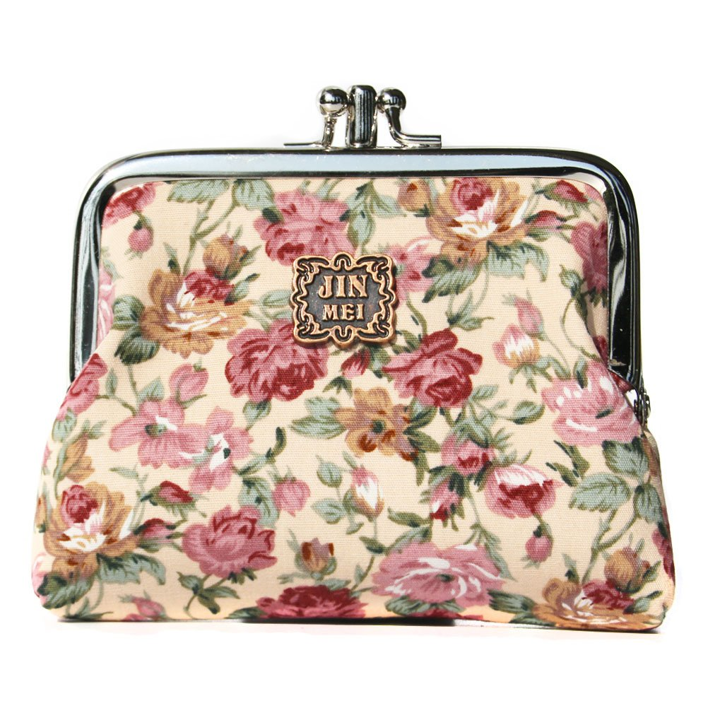 PiuPiu Floral Exquisite Clasp Coin Purse Cards Case Flowers Print Wallet For girls
