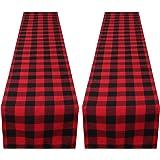 Aneco 2 Pack 13 x 108 Inches Checkered Table Runner Cotton Table Runner Trendy Modern Plaid Design Tablerunner Elegant Decor