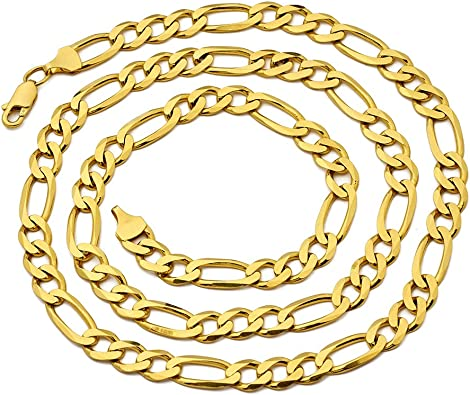 Available in 16 to 24 inches BLING 10K Yellow Gold 2.5mm Solid Figaro Chain Necklace MR