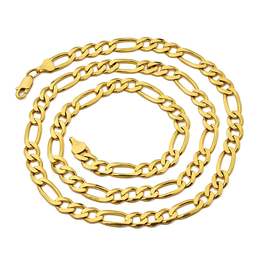 14K Yellow Gold Solid Figaro Chain Necklace (2mm to 6.5mm)