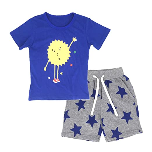 028cdbad0c52 Little Boys' Summer Cotton Short Sleeve T-Shirts and Shorts 2 Pieces Clothing  Sets