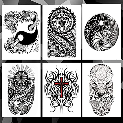 Etiqueta Engomada Del Tatuaje Temporal Yin Yang Lion Dragon Totem ...