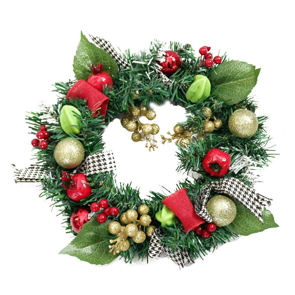 Dowager 11.8 Inch Christmas Wreath for Front Door, Wall Windows Artificial Xmas Decoration with Tinkle Bell Bowknot and Small Ornaments for Home Indoor Outdoor (A) by Dowager_Home Decor