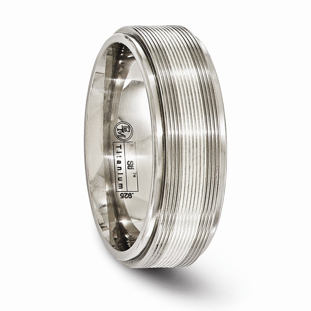 Bridal Wedding Bands Fancy Bands Edward Mirell Titanium with Sterling Silver Textured Line Step Edge 7.5mm Band Size 7.5