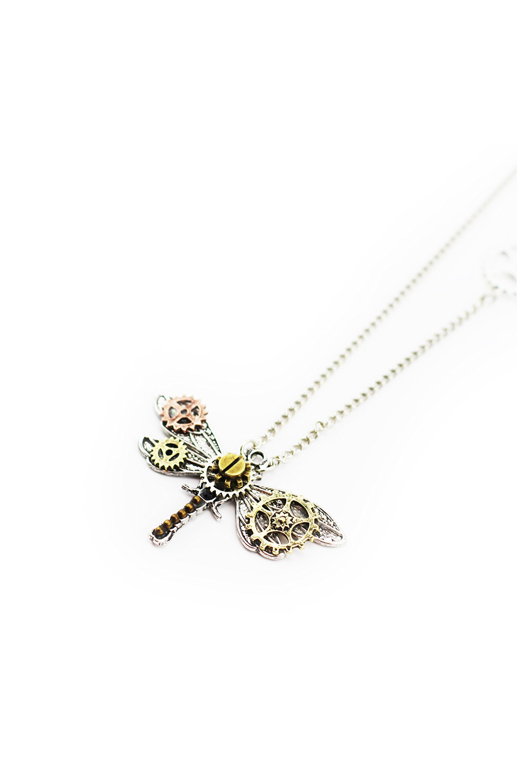Frankenstrap Steampunk Dragonfly Pendant Necklace - Vintage Gear Cosplay Jewelery 5