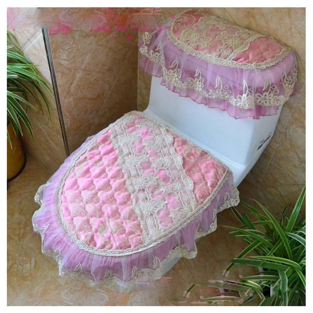 KRWHTS New Pink European Style Plush Bathroom Toilet Decor Luxury Lace 3 Pieces Toilet Lid Tank Covers Bathroom Toilet Seat Covers Sets