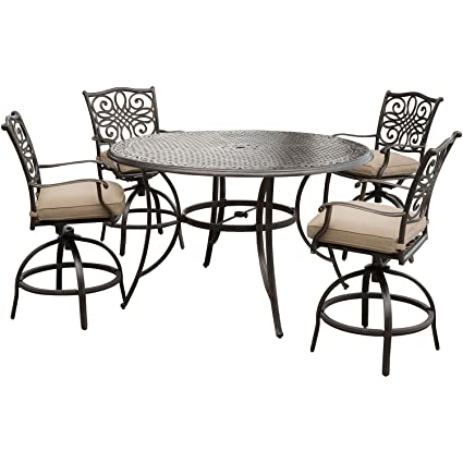 Traditions 5 Piece High Dining Set In Tan With 4 Swivel Chairs And A