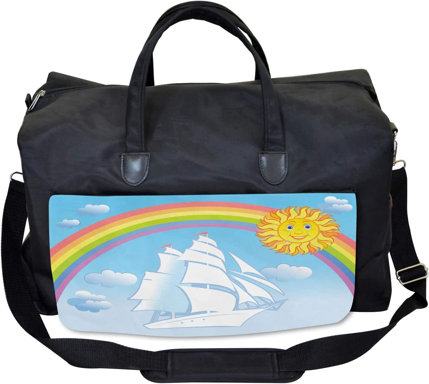Large Weekender Carry-on Ambesonne Kids Gym Bag Motivational Ship Rainbow