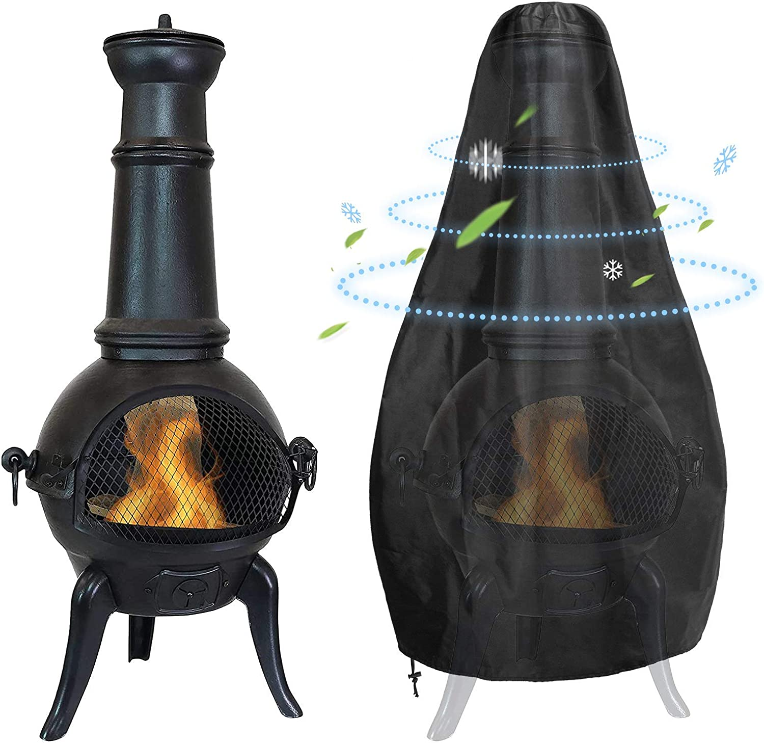 Waterproof Outdoor Round Base Chiminea Winter Cover