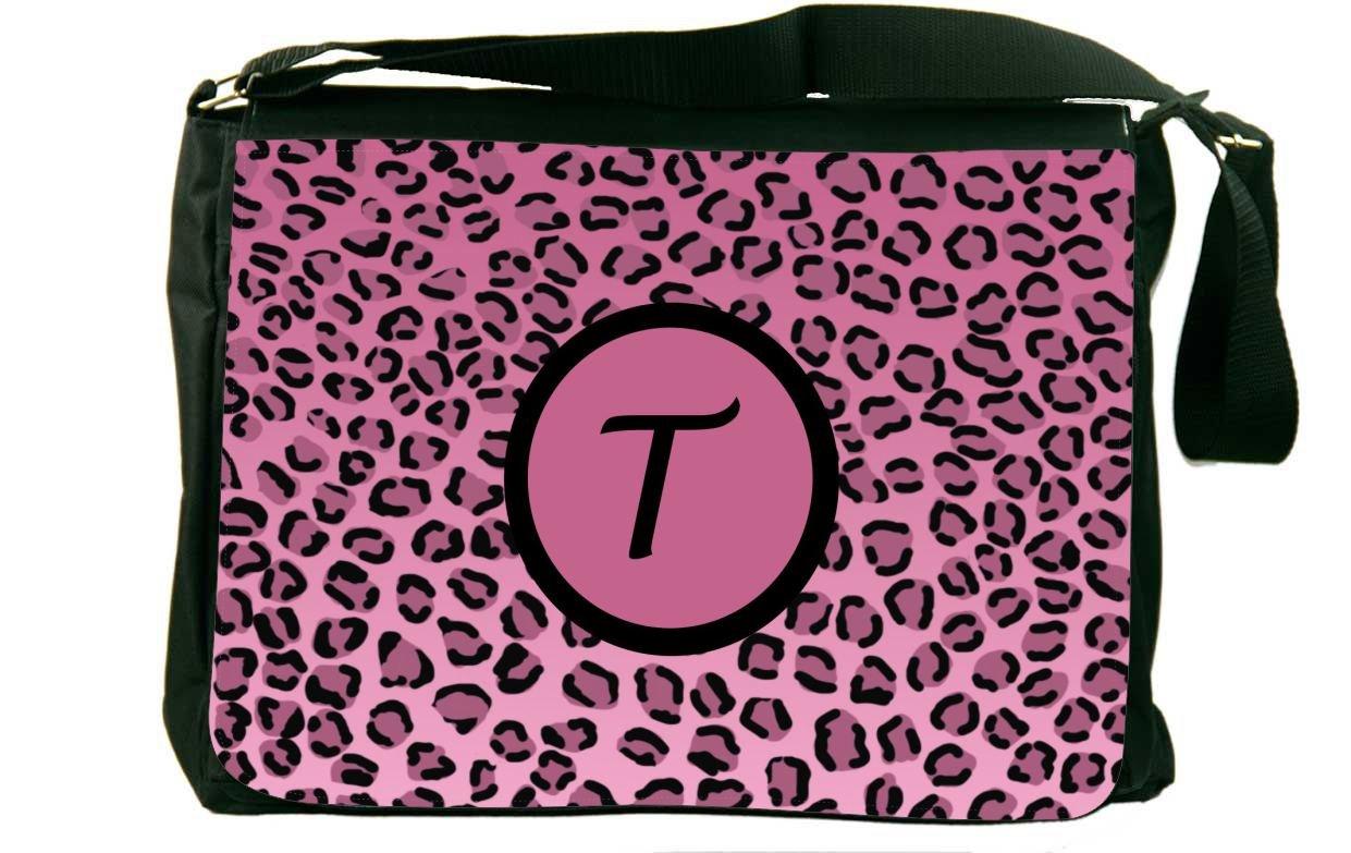 Rikki Knight Letter T Light Pink Leopard Print Monogrammed Messenger Bag School Bag