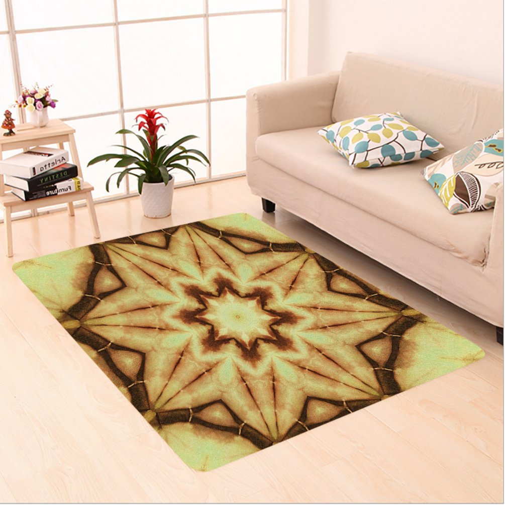 Nalahome Custom carpet ye Decor Trippy Ethnic Thai Mandala Motif with Dirty Grunge Smear and Rough Stains Mustard Brown area rugs for Living Dining Room Bedroom Hallway Office Carpet (5' X 7') by Nalahome