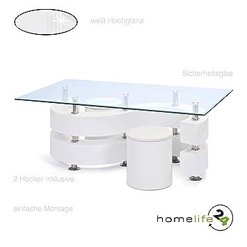 Couchtisch Glastisch Wohnzimmertisch Wohnzimmer Tisch Glas 2 Hocker ...
