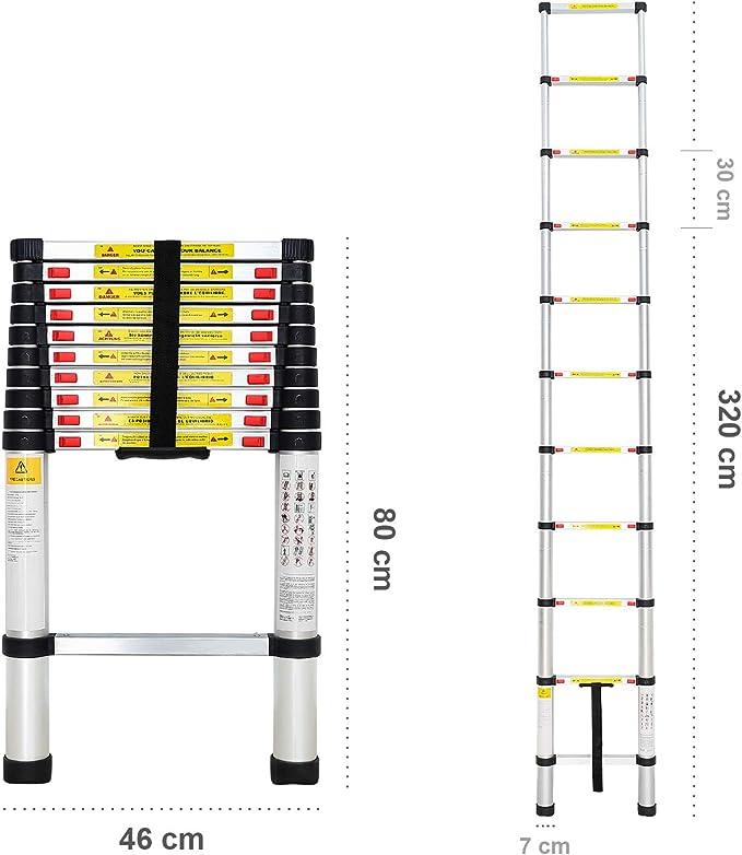 /Échelle Pliable 3,8 m/ètre Todeco Charge maximale: 150 kg s EN 131 Mat/ériau: Alliage en aluminium Echelle Telescopique
