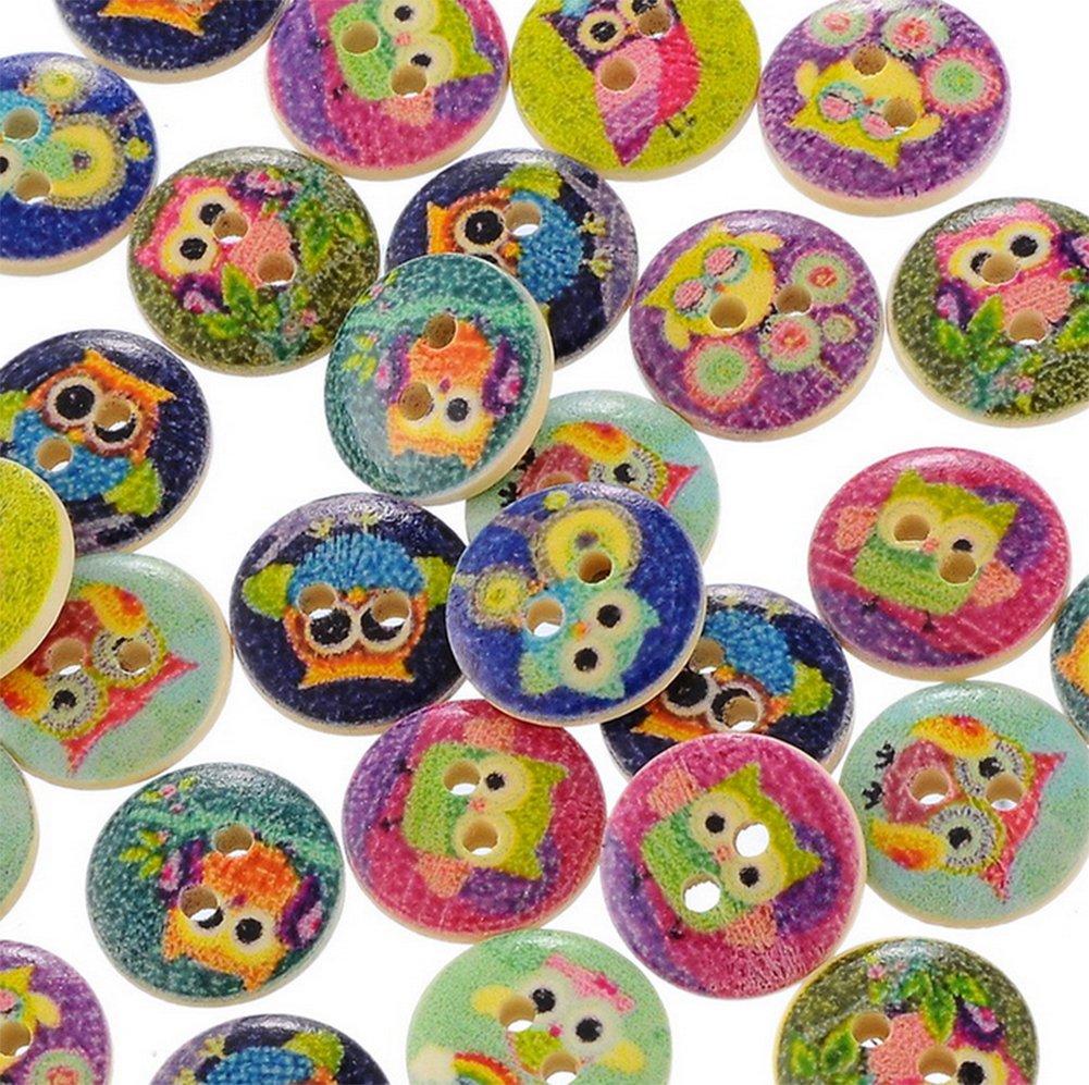 daliuing 50 x Boutons en Bois Hibou Motif Boutons en Bois Manteau Chemise Boucle Boutons pour DIY Artisanat Tricot /À Coudre Tissu 15 MM