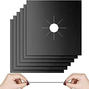 """Gas Stove Burner Liners, 10 Pack 0.3mm Non-Stick Reusable Gas Range Protectors Stove Top Covers for Gas Burners Heat-resistant,Double Thickness, Dishwasher Safe 10.6""""x10.6"""""""