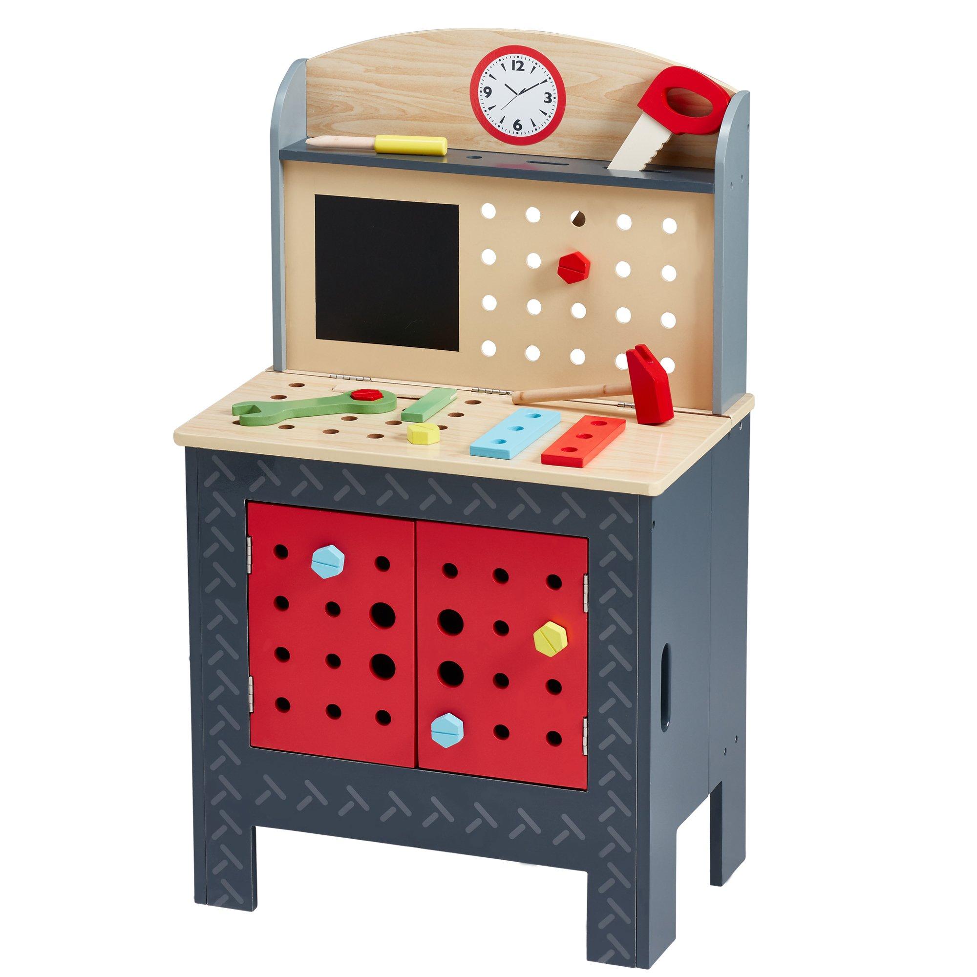 Teamson Kids Little Engineer Foldable Wooden Workbench, Multicolor KYW-12027AR