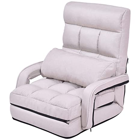 Astounding Folding Lazy Floor Sofa Couch Chair Couch Beds Lounge Chair W Armrests And Pillow Beige Ibusinesslaw Wood Chair Design Ideas Ibusinesslaworg