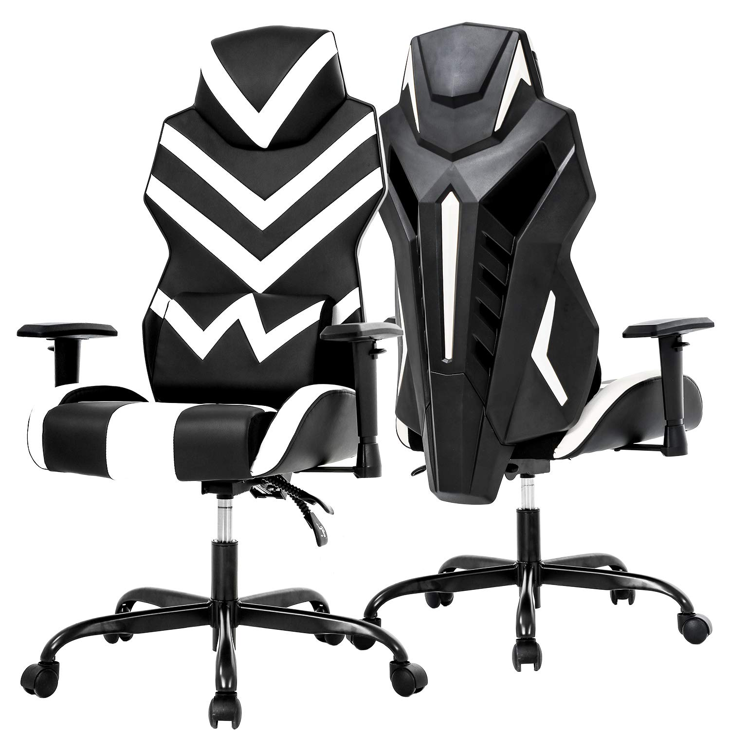 PC Gaming Chair Ergonomic Office Chair Desk Chair High Back Racing Computer Chair with Lumbar Support Adjustable Arms Headrest Task Executive Swivel Rolling Chair for Adults Girls,White by BestOffice