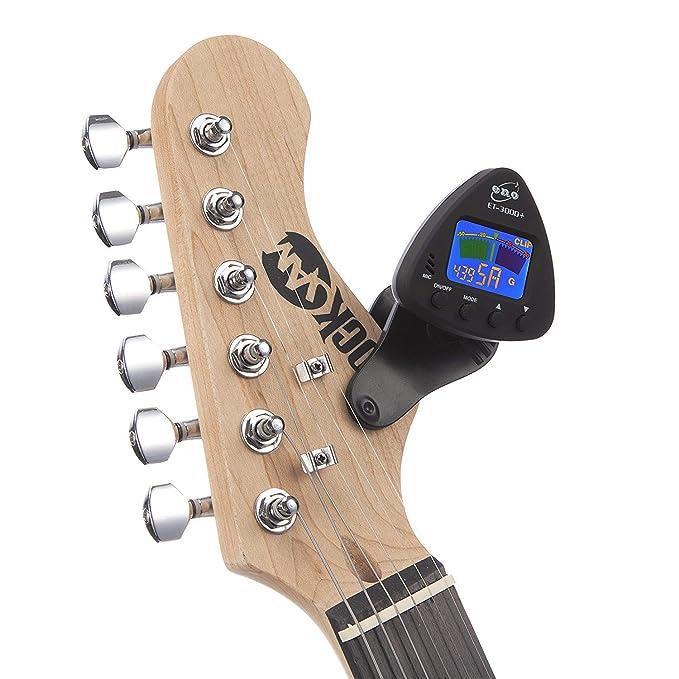 Morcoo nstrumentos de viento y afinador de guitarra compatible con micrófonos y modos de afinación para, clarinete, trompeta, bajo, guitarra [colorido LCD] ...