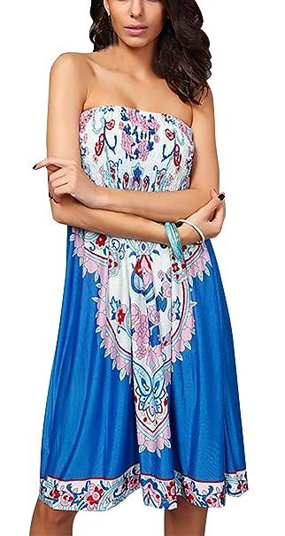 FEOYA Vestido - sujetador bandeau - Sin mangas - para mujer: Amazon.es: Ropa y accesorios