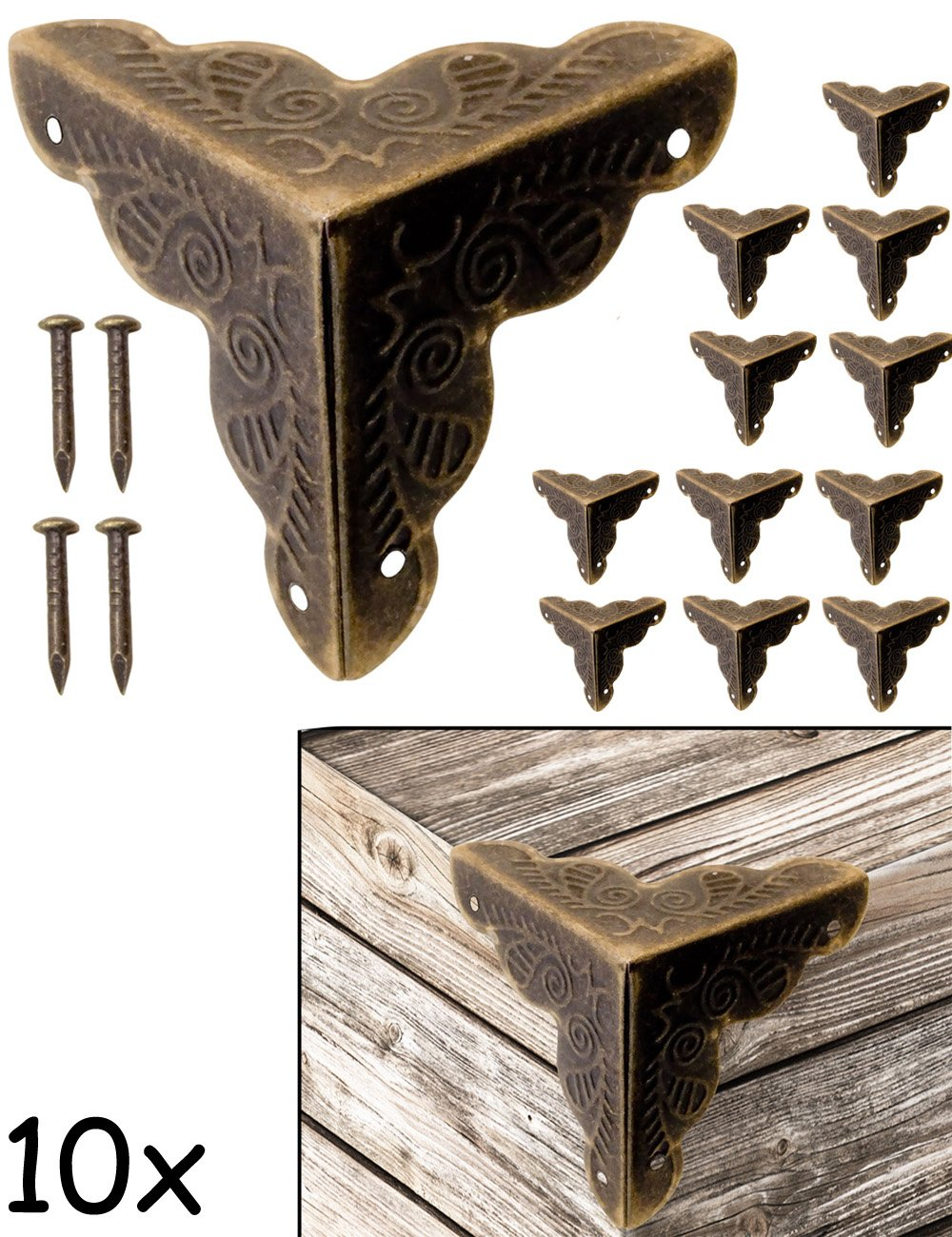fuxxer 10x antik m bel ecken beschl ge f r kisten. Black Bedroom Furniture Sets. Home Design Ideas