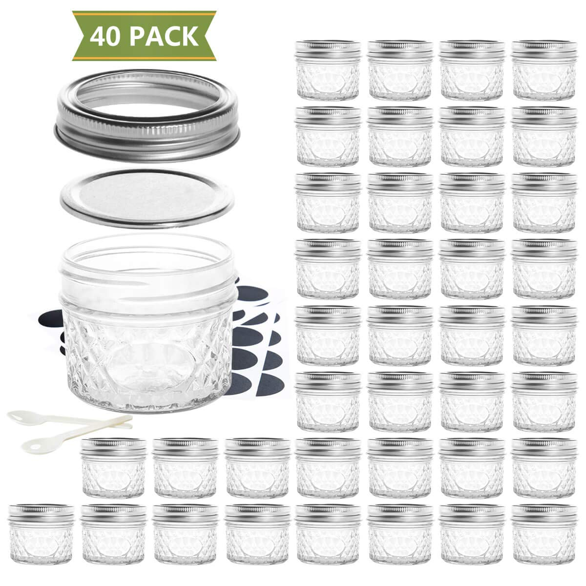 SXUDA Mason Jar BPA-Free 4oz Mini Canning Jars with Regular Lids and Bands Jelly Jars for Jam, Honey, Wedding Favors, Shower Favors, Baby Foods, DIY Magnetic Spice Jars, 40 PACK