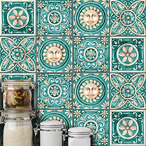 HyFanStr 10 Pcs Moroccan Style Tile Sticker Backsplash Peel & Stick Kitchen Tile Decal, 8x8 Inches.
