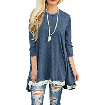 Sanifer Women's Lace 3/4 Sleeve Tunic Tops for Leggings Long Tunic Dress