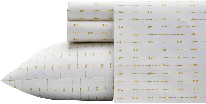 Tommy Bahama Pineapple Pinstripe Sheet Set, King, Yellow