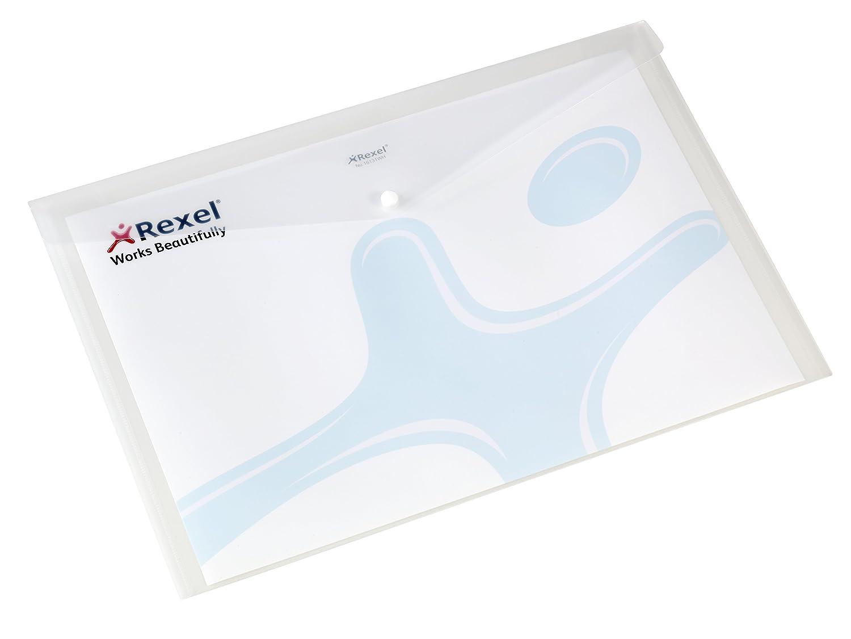 Rexel Busta Portadocumenti in Plastica A4, Chiusura con Bottone, Blu, 6 Unità ACCO Brands 225093
