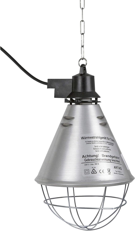 Kerbl 2228 - Calefactor por infrarrojos para lechones/pollitos (sin lámpara, pantalla de aluminio, diámetro de 21 cm, cable de 2,5 m, incluye cadena de sujeción, capacidad de carga de 20 kg, con ranur