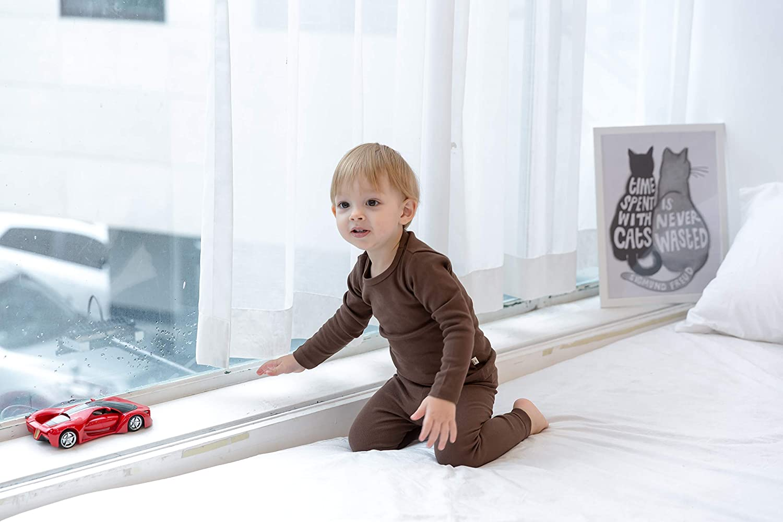 AVAUMA Baby Boys Girls Solid Pring Pj Set Kids Pajamas Long Sleeve Cotton