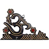 Crafts'man Beautiful Wooden Wall Hanging Key Holder with Key Hooks in Om Shape