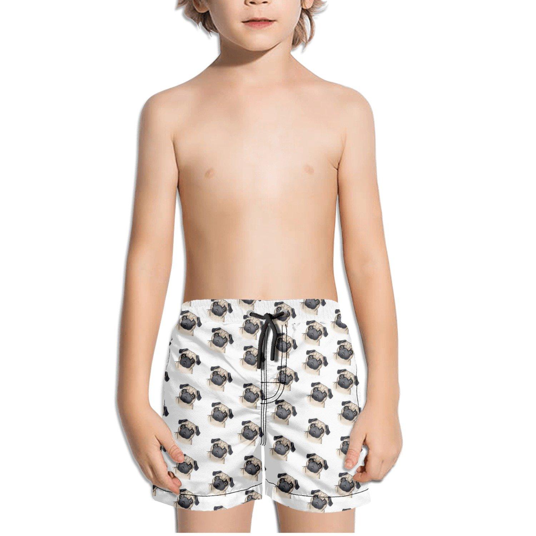 TylerLiu Drawn Pug Tumblr Backgrounds Kids Boy's Fast Drying Beach Swim Trunks Pants