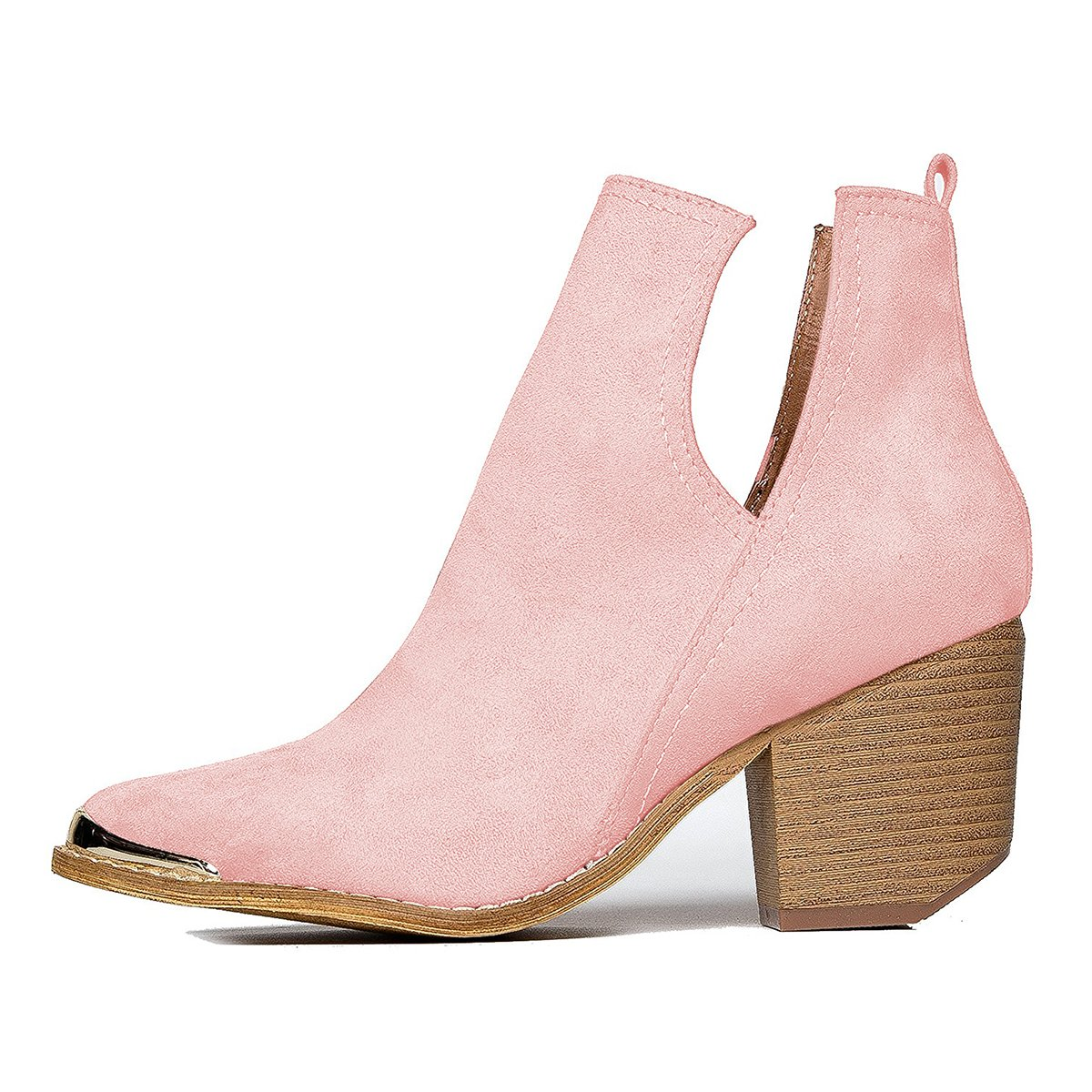 YDN Women Ankle Booties Low Heel Faux Suede Stacked Boots Cut Out Shoes with Metal Toe B079BBCL5V 8 M US Pink