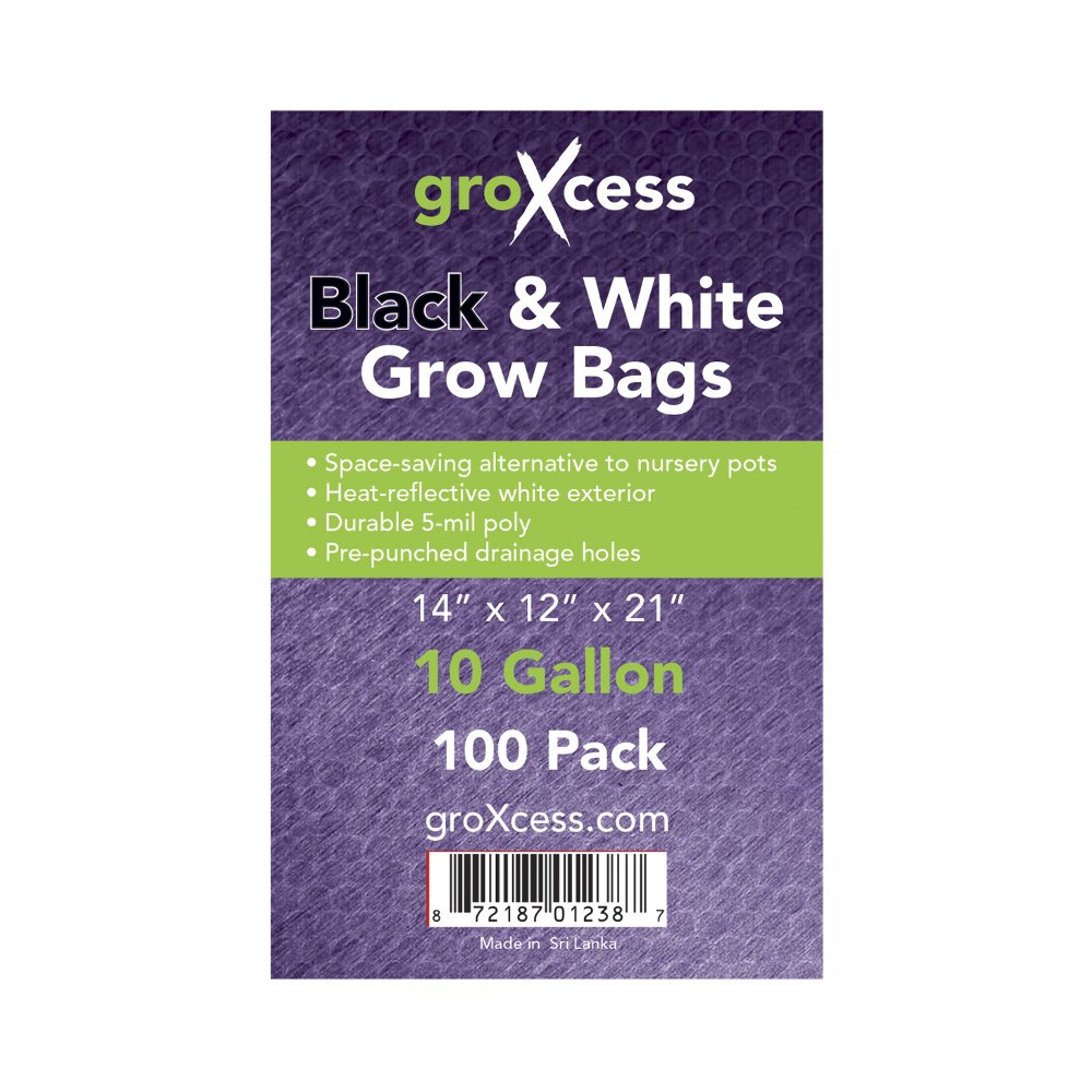 GroXcess Black & White Grow Bags, 100 Pack