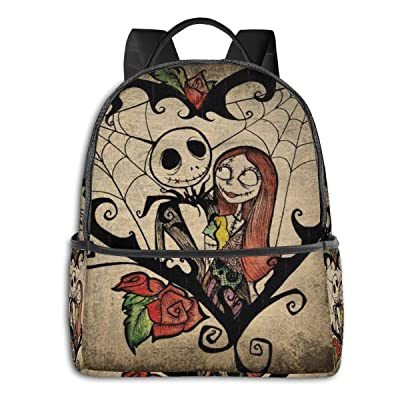 Jack and Sally Nightmare Before Christmas (103) Black Backpack Zipper School Bag Travel Daypack Unisex Adult Teens Gift: Computers & Accessories