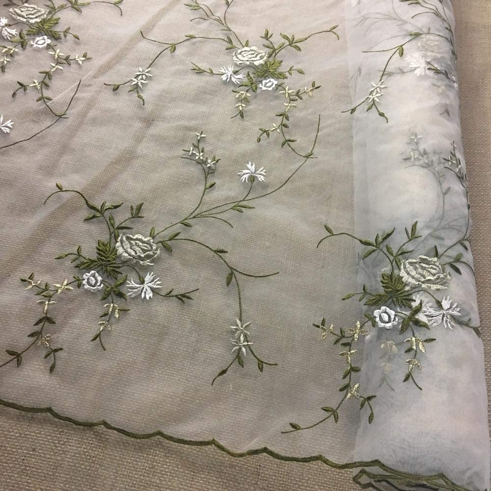 Embellishment VLA160 Pillows Hand Bags Clothes Crazy Quilts Sewing One Pair Off White Soft Floral Rayon Venise Applique Scrapbooking