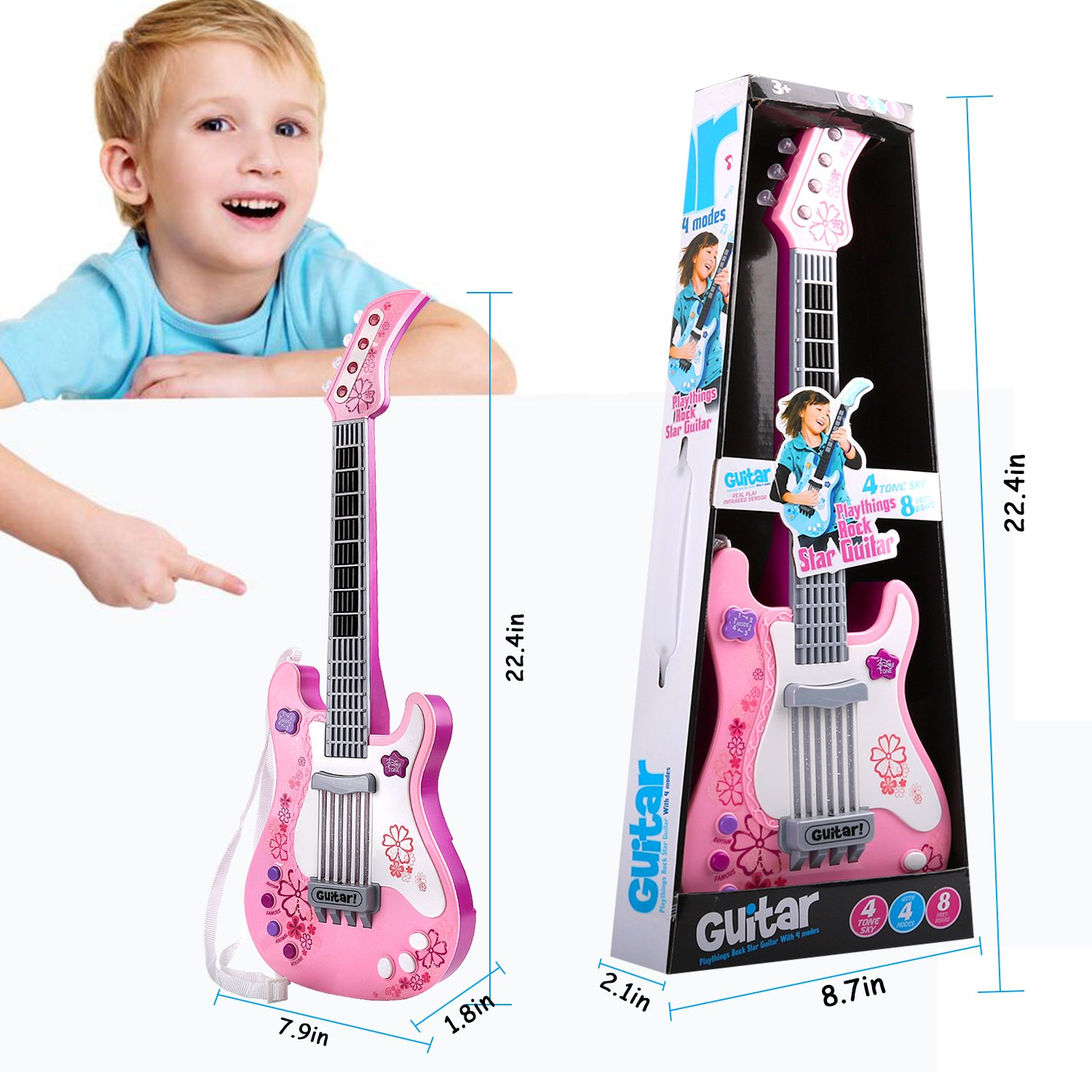 M SANMERSEN Guitar Toys for Kids with Vibrant Sounds No String-RO Pink