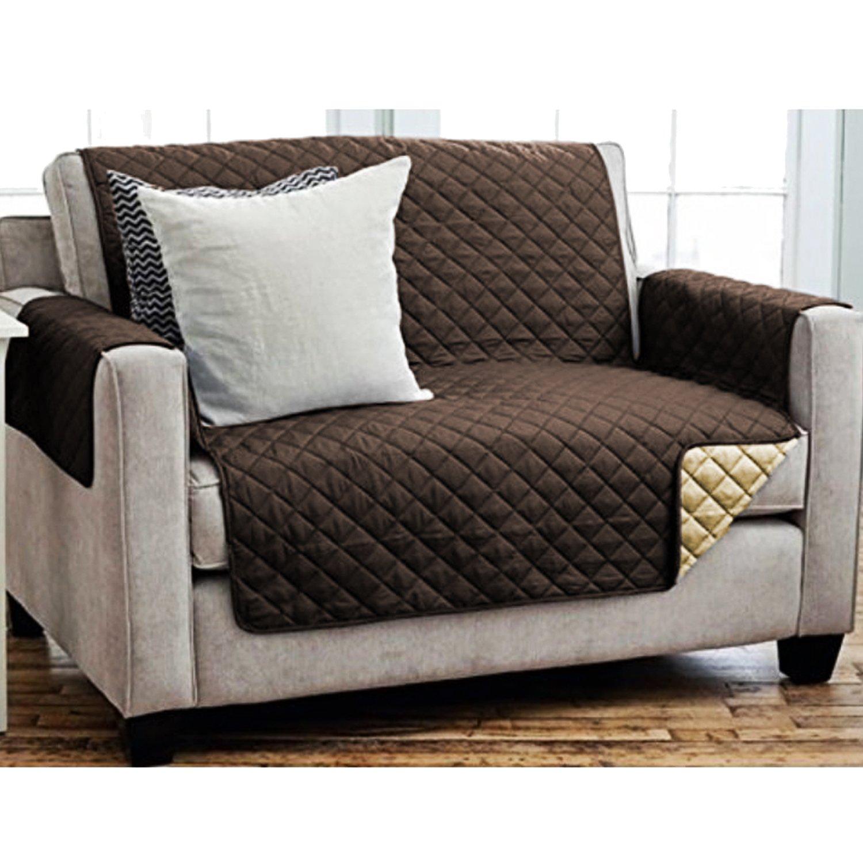 Sofaschoner Der perfekte Sesselschoner Sesselschutz Sofa/überwurf 2-Sitzer 191 x 224 cm Farbe Braun//Beige