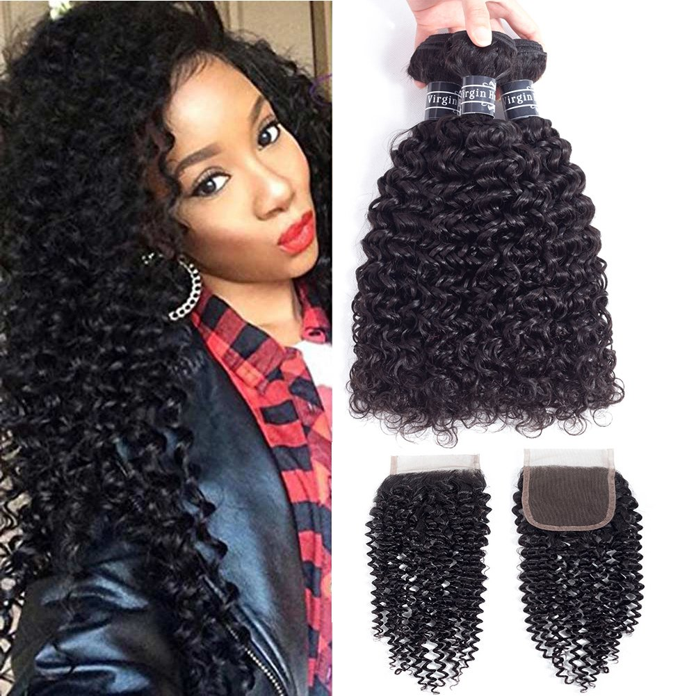 Amella Hair 10A Brazilian Virgin Curly Hair Weave 3 Bundles with Lace Closure Free Part 4x4 100% Unprocessed Brazilian Kinky Curly Hair Weave Bundles Natural Color(16 18 20+14inch) by Amella (Image #1)