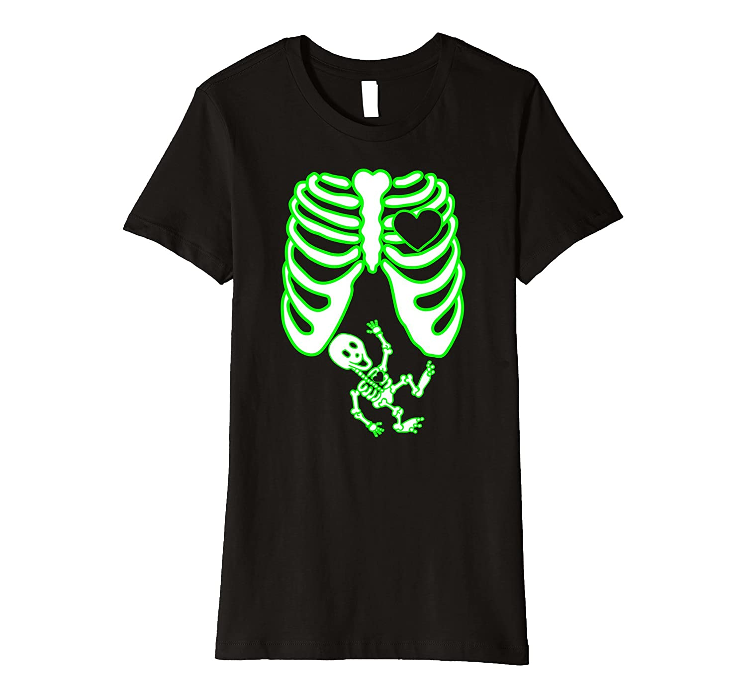 Womens Mom to Be Skeleton Shirt, Halloween, Glow in the Dark Effect-FL