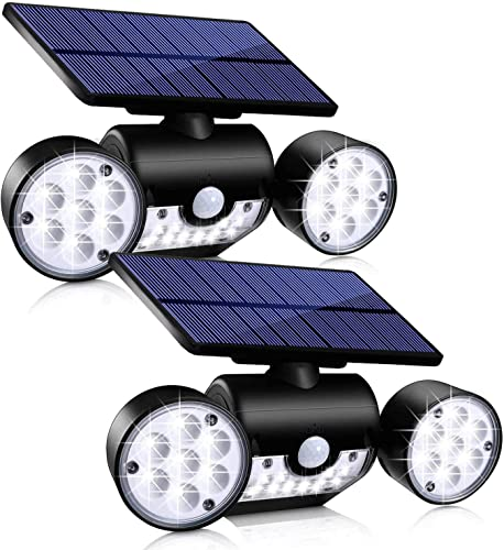 Ambaret Outdoor Solar Lights, 30 LED Solar Security Lights with Motion Sensor Dual Head Spotlights IP65 Waterproof 360 Adjustable Solar Motion Lights Outdoor for Yard Garden Garage Patio, 2 Pack