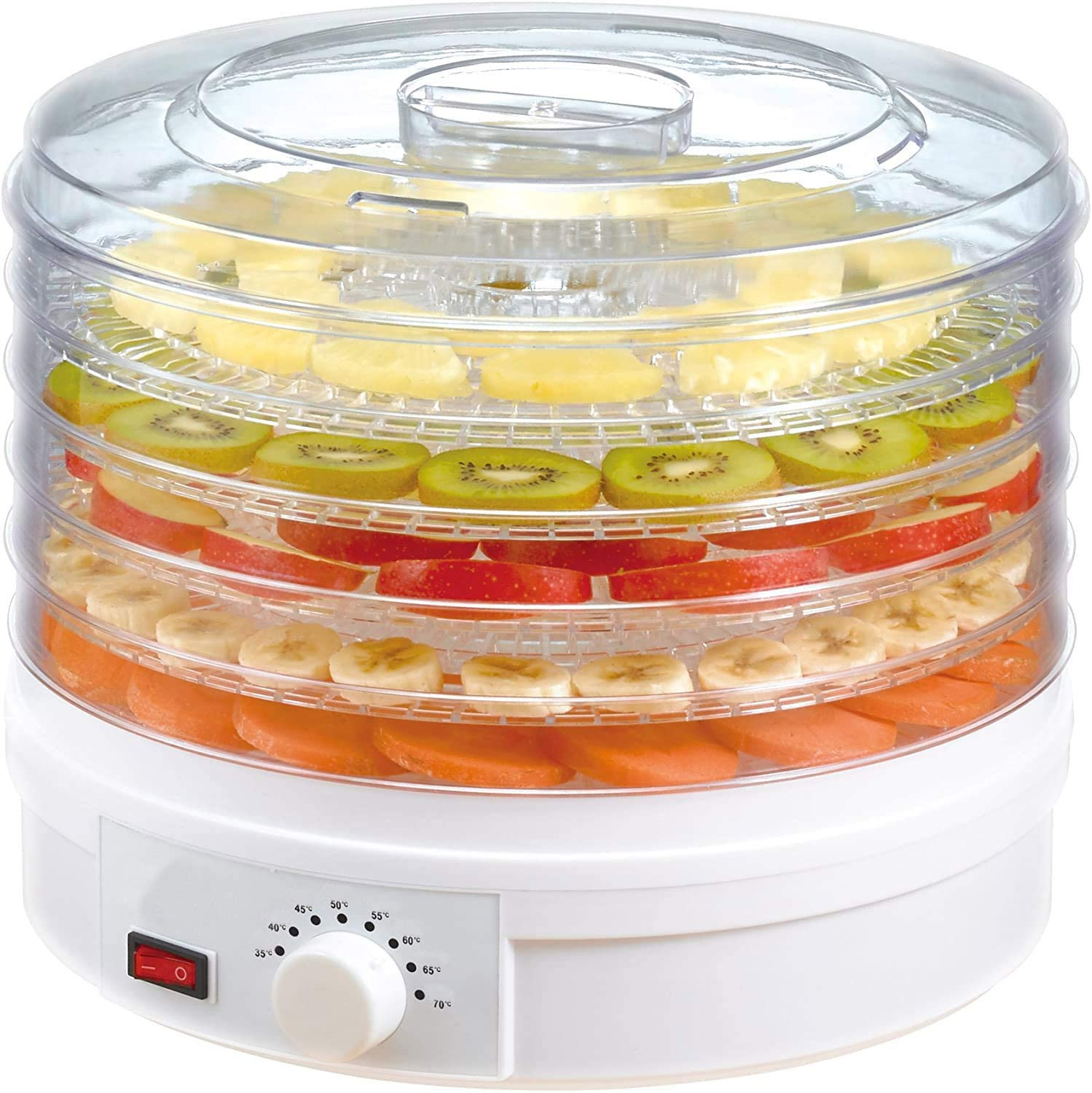 Electric Countertop Food Dehydrator - 350W Food Preserve - Beef Jerky?Fish Poultry?Fruit Vegetables Dryer with 5 Stackable Trays & Temperature Control Knob