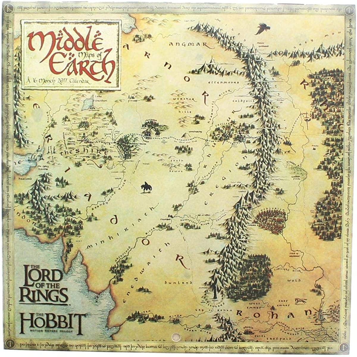 Lord Of The Rings Middle Earth Map Amazon.com: LORD OF THE RINGS   MIDDLE EARTH MAPS   2017 MINI WALL