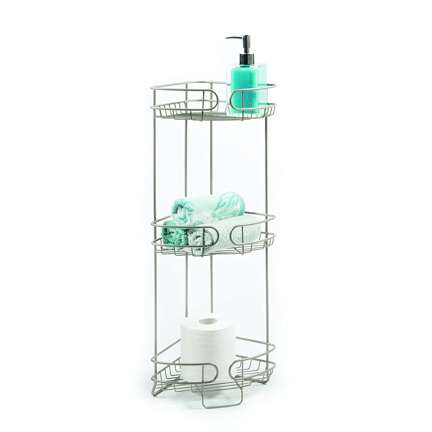 outlet homecrate bathroom accessories corner stand open wire design with three big shelves 26 height