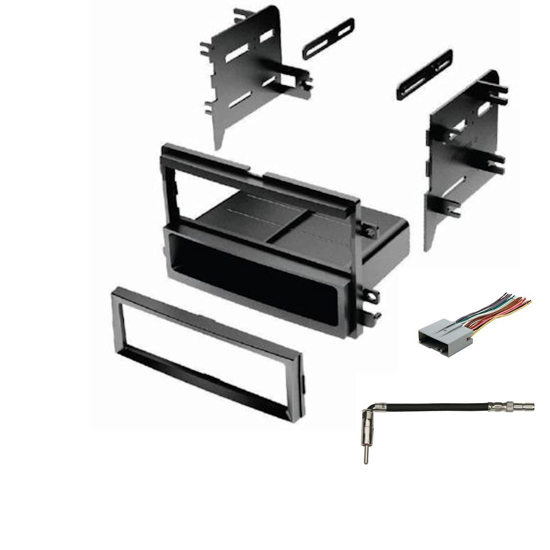 IMC Audio Single Din Dash Kit for Aftermarket Radio Installation with Wire Harness and Antenna Adapter