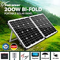 Solraiser 120W 160W 200W 250W 300W Portable Folding Solar Panel Kit 12V Monocrystalline Camping Caravan Boat Charging Power Battery Generator Regulator MPPT Controller USB Home House